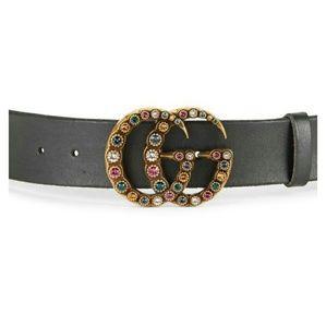 Gorgeous Crystal Gem Leather Gucci Belt